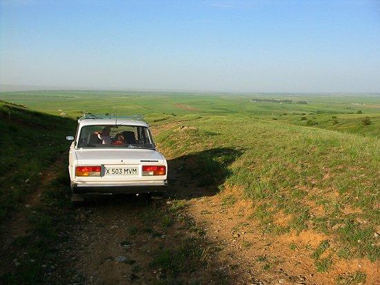 Het verlaten dorp Chokpak in Kazachstan