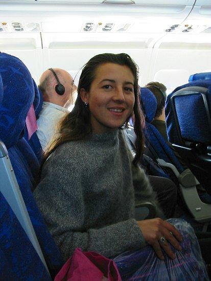 Elmira in het British Airways vliegtuig