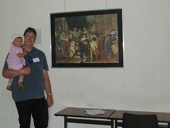 Kopie in kleurpotlood van de Nachtwacht van Rembrandt
