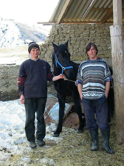 Foto van Kole, Zhenja en een paard met het nieuwe halster