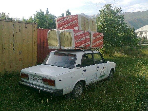 Steenwol op transport