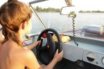 Nathalie in de motorboot