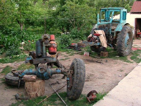 Groot onderhoud aan de tractor