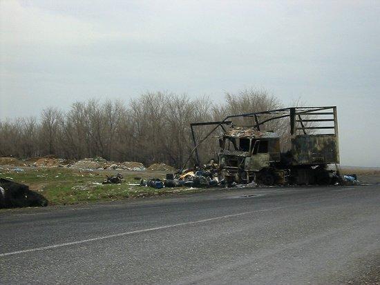 Uitgebrande vrachtwagen