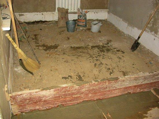 De vloer is verwijderd