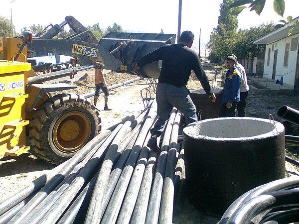 Nieuwe waterleiding buizen